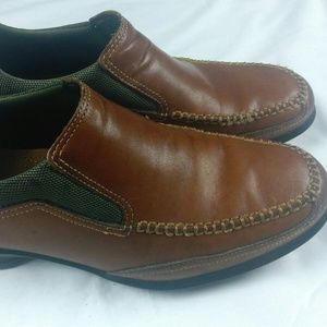 COLE HAAN AIR Mens Brown Leather Slip On Driving L
